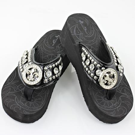 fleur de lis crystal flip flops shoes. Black Bedroom Furniture Sets. Home Design Ideas