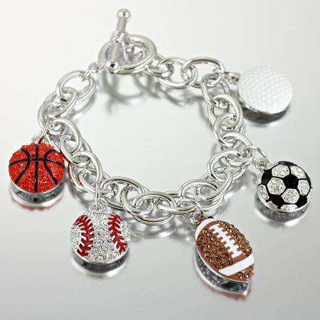 Sports Mixed Ball Charm Bracelet Korb0011 S